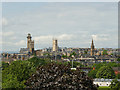 NS5766 : The spires of West Glasgow from Speirs Wharf by Stephen Craven