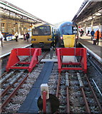 SS6593 : Two trains at the end of the lines, Swansea station by Jaggery