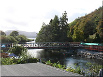NY4724 : The temporary pedestrian bridge across the River Eamont by David Purchase