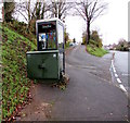 SO0527 : Telecoms cabinet 15 and BT phonebox on a Brecon corner by Jaggery