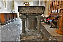 TQ1711 : Steyning, St. Andrew and St. Cuthman Church: c12th font bowl on Victorian base 2 by Michael Garlick