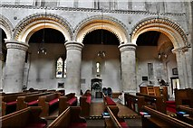 TQ1711 : Steyning, St. Andrew and St. Cuthman Church: Mid c12th nave columns by Michael Garlick