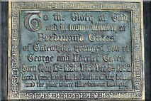 TQ1711 : Steyning, St. Andrew and St. Cuthman Church: The Ferdinand Gates memorial plaque by Michael Garlick