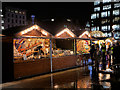 SJ8498 : Christmas Market Stalls at Piccadilly by David Dixon