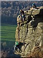 SK2576 : Rock climbing above Froggatt by Neil Theasby