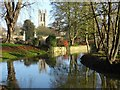 SP5105 : Magdalen bell tower reflected in the River Cherwell by Philip Halling