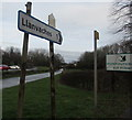 ST4291 : Llanvaches direction and distance sign in Penhow by Jaggery
