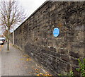 ST1875 : Blue plaque on a stone wall, Bute Street, Cardiff by Jaggery