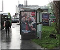 ST3188 : Coca-Cola advert on a city centre bus shelter, Newport by Jaggery