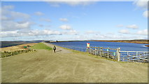 SD9620 : The embankment at Warland Reservoir by Colin Park