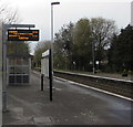 SO4593 : Next departures information on platform 2, Church Stretton station by Jaggery