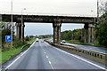 NS3042 : Rail Bridge over the A78 near Kilwinning by David Dixon