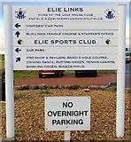 NO4800 : Sign at Elie Golf House Club car park by Bill Kasman