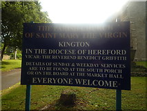 SO2956 : Sign at St. Mary's Church (Kington) by Fabian Musto