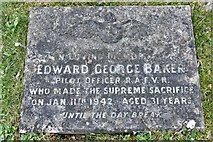 TQ1450 : Ranmore Common, St. Barnabas Church: Edward George Baker R.A.F.V.R  grave by Michael Garlick