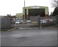 SP0189 : Exit from the DPD depot into Roebuck Lane, Smethwick by Jaggery