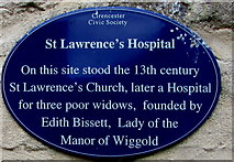 SP0202 : St Lawrence's Hospital blue plaque, Cirencester by Jaggery