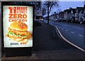 ST3188 : KFC Vegan Burger advert on a Clarence Place bus shelter, Newport by Jaggery