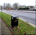 ST3090 : Welsh side of a litter bin near St Mary's Church, Malpas, Newport by Jaggery