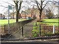 TQ2768 : Footpath across Cricket Green, Mitcham by Malc McDonald