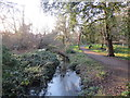 TQ2667 : Drainage channel near Mitcham by Malc McDonald