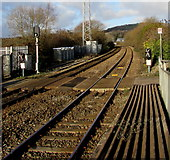 SS7597 : Barrow crossing beyond the northern end of Neath railway station by Jaggery