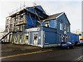 SS7597 : Scaffolding on the London Road side of the RAFA club, Neath by Jaggery