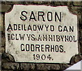 SN7905 : Welsh inscription on Saron Chapel, Crynant by Jaggery