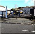 SN7905 : Locked gates at the entrance to vacant Main Road premises, Crynant by Jaggery