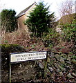 SN8208 : English/Welsh name sign at a bend in the A4109, Seven Sisters by Jaggery