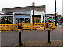 SS7597 : Yellow temporary barriers, Station Square, Neath by Jaggery