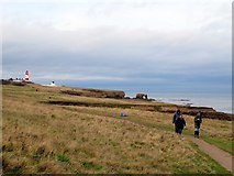 NZ4163 : Walkers at Whitburn Coastal Park by Andrew Curtis