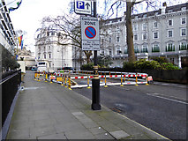 TQ2879 : Road closed, Chesham Place, SW1 by Robin Webster