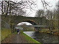 SE1619 : Footbridge and old railway viaduct, Huddersfield Broad Canal by Stephen Craven
