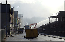 SE1533 : The remains of Drummond Mill being doused, Lumb Lane by habiloid