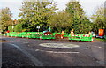 SO7708 : Green temporary barriers on a Whitminster corner by Jaggery
