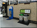 NS5865 : Recycling bins and water fountain, Glasgow Central Station by Stephen Craven