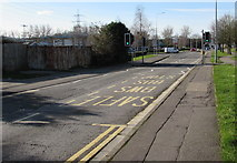 ST3186 : Docks Way bus stop and pelican crossing, Newport by Jaggery