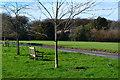 SU7282 : Roadside trees and seats at Greys Green by David Martin