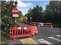 SP2965 : Works along Tesco's service road, Warwick by Robin Stott