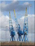ST1973 : Three cranes at Cardiff Docks by Chris Allen