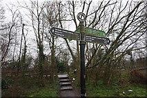 TQ1683 : Fingerpost at  Ballot Box Bridge by Ian S