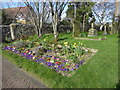 TQ6872 : Flower bed at the entrance to St Mary the Virgin Church, Chalk by Marathon