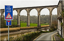SX4368 : Calstock Viaduct - Perhaps a misleading sign? by Mike Lyne
