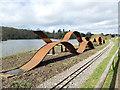 SJ8640 : Trentham Gardens: waves sculpture by Stephen Craven