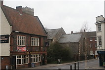 TG2309 : View of The Mischief pub and St. Clement the Martyr church from Fye Bridge Street by Robert Lamb