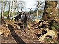 SJ8639 : Trentham Gardens: leaping deer sculpture by Stephen Craven