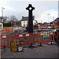 ST4888 : Temporary barriers enclosing the War Memorial Cross in Caldicot by Jaggery