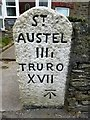 SX0653 : Old Milestone by the A390, St Blazey Gate by Rosy Hanns