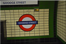 TQ2981 : Roundel, Goodge Street Underground Station by N Chadwick